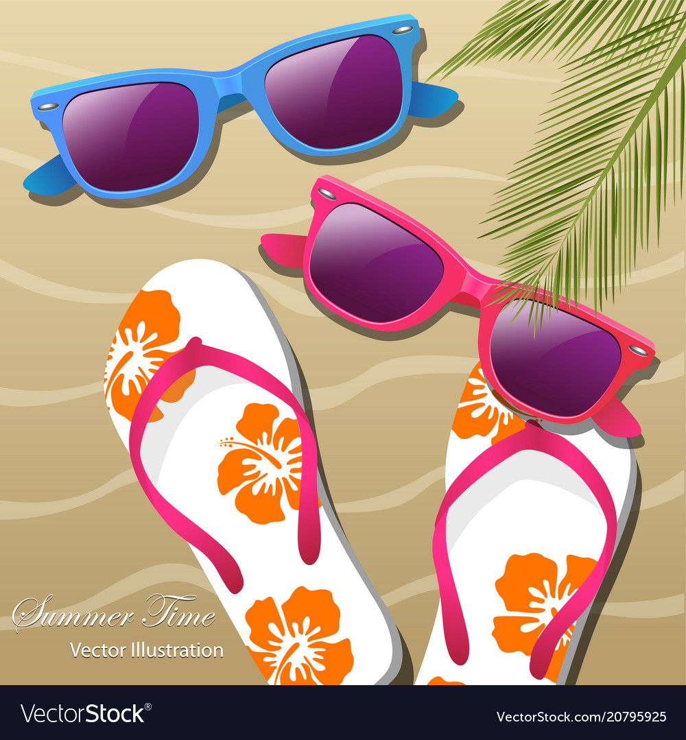 7041c206462d Flip- flops in the sand sun glasses and palm Vector Image