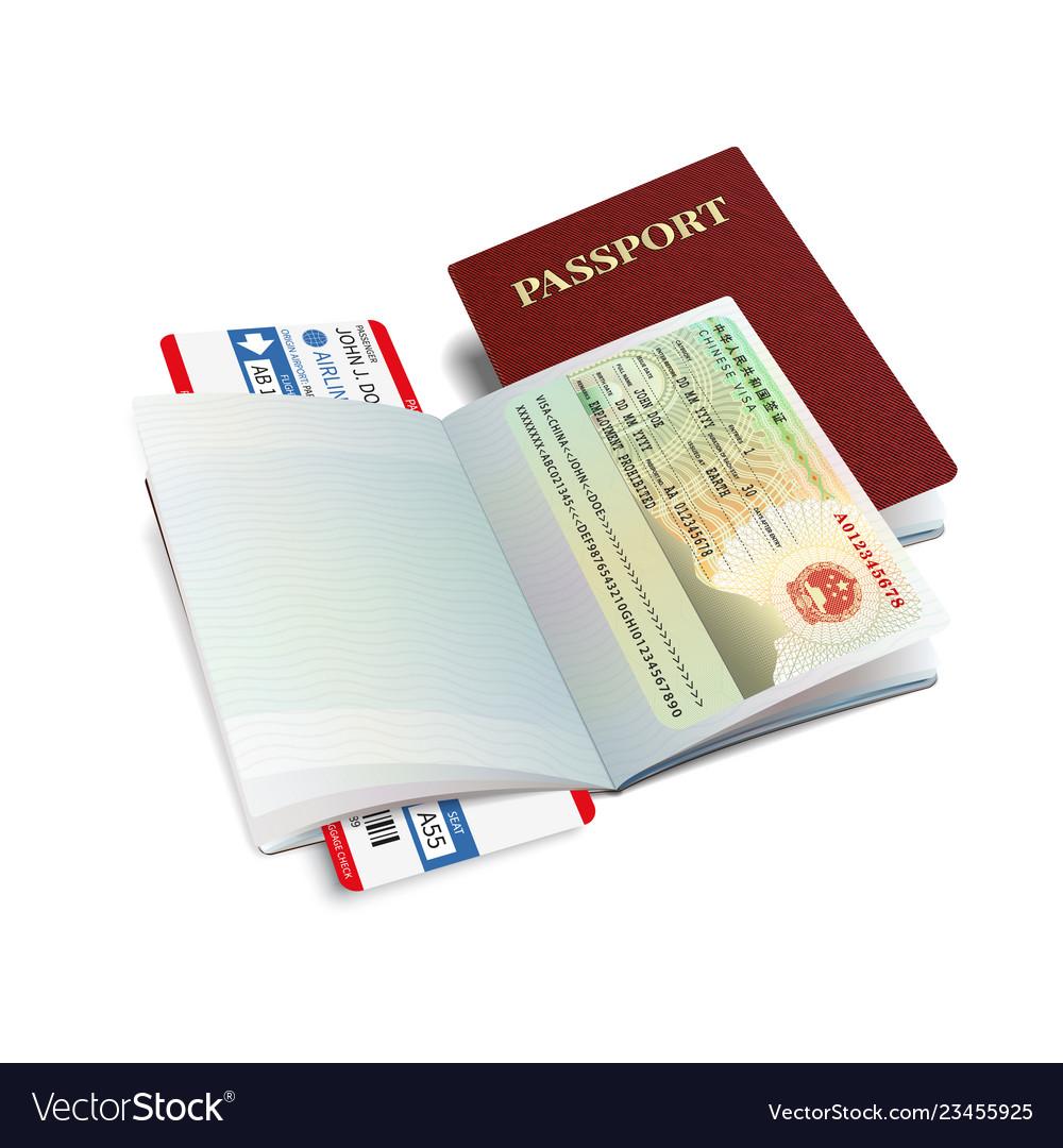 International passport with canada visa vector image