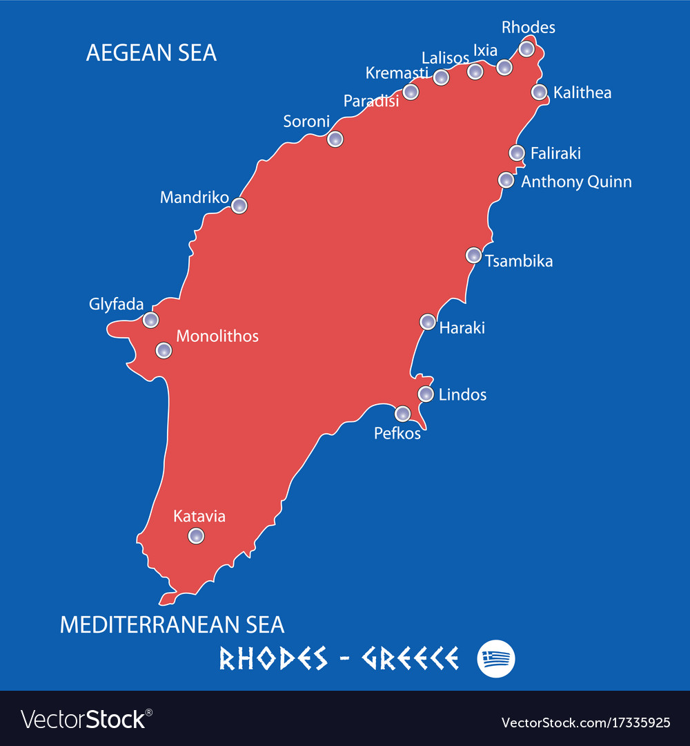 Rhodes Island Greece Map.Island Of Rhodes In Greece Red Map Royalty Free Vector Image