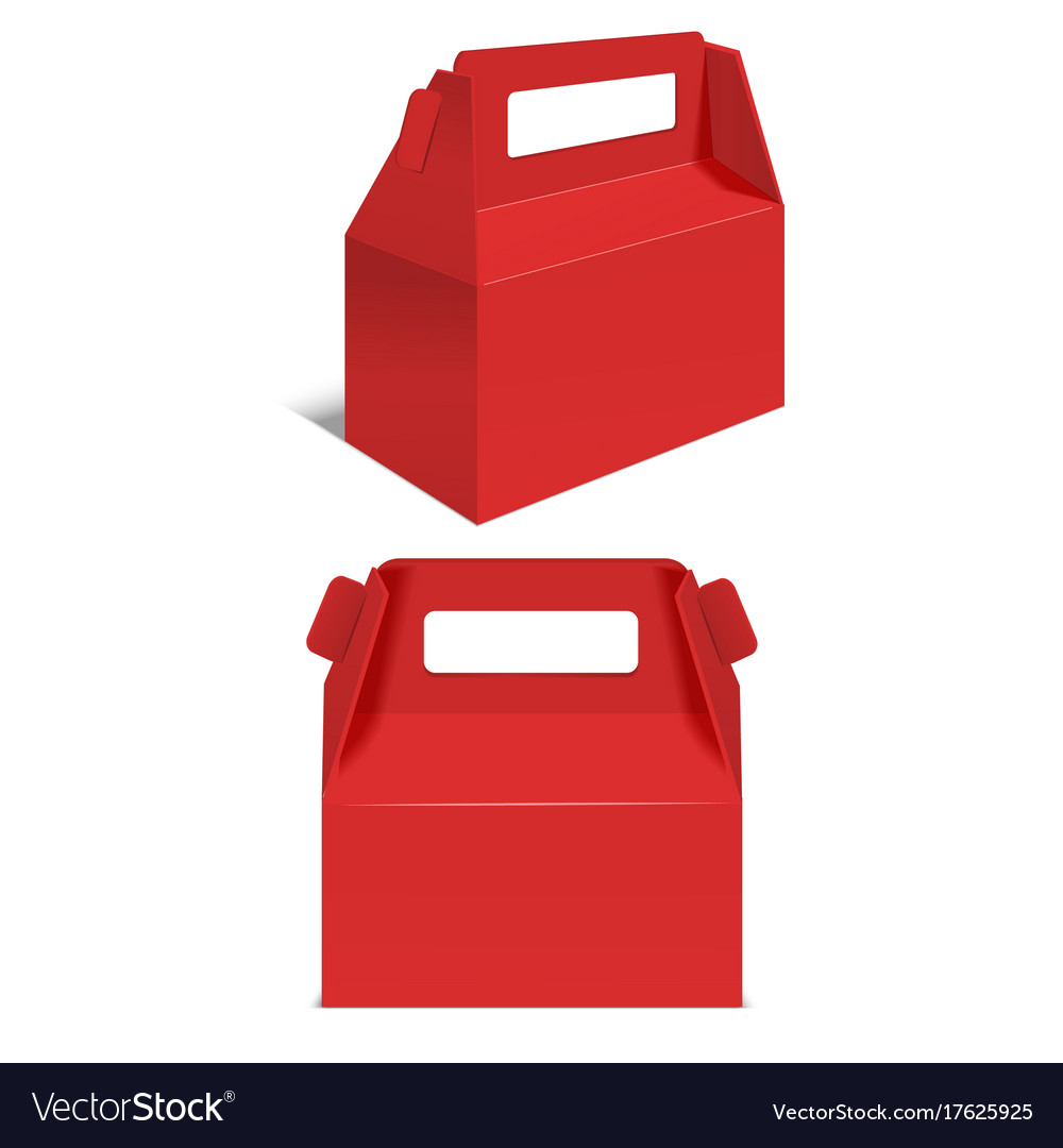 Realistic Template Blank Red Paper Folding Box Vector Image