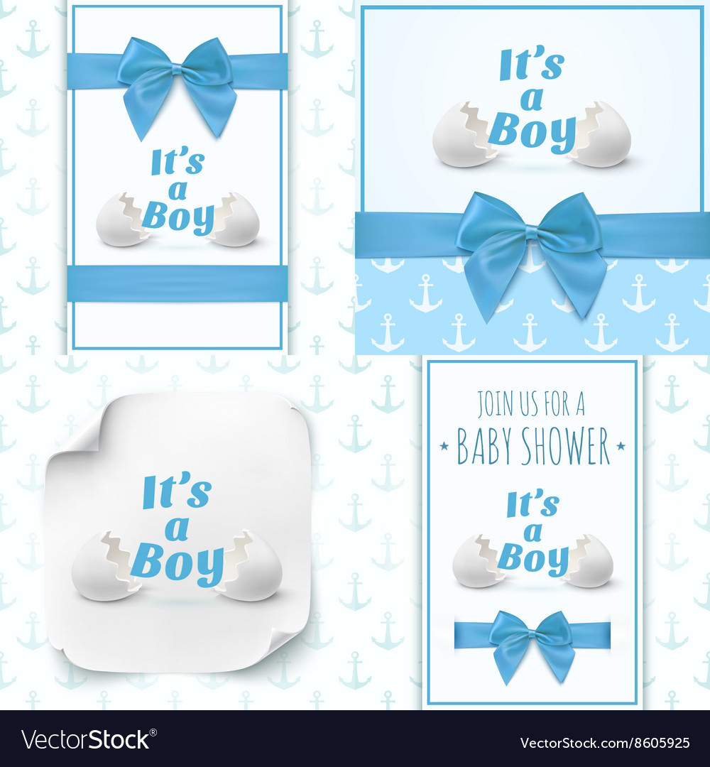 Set of four templates for baby boy shower