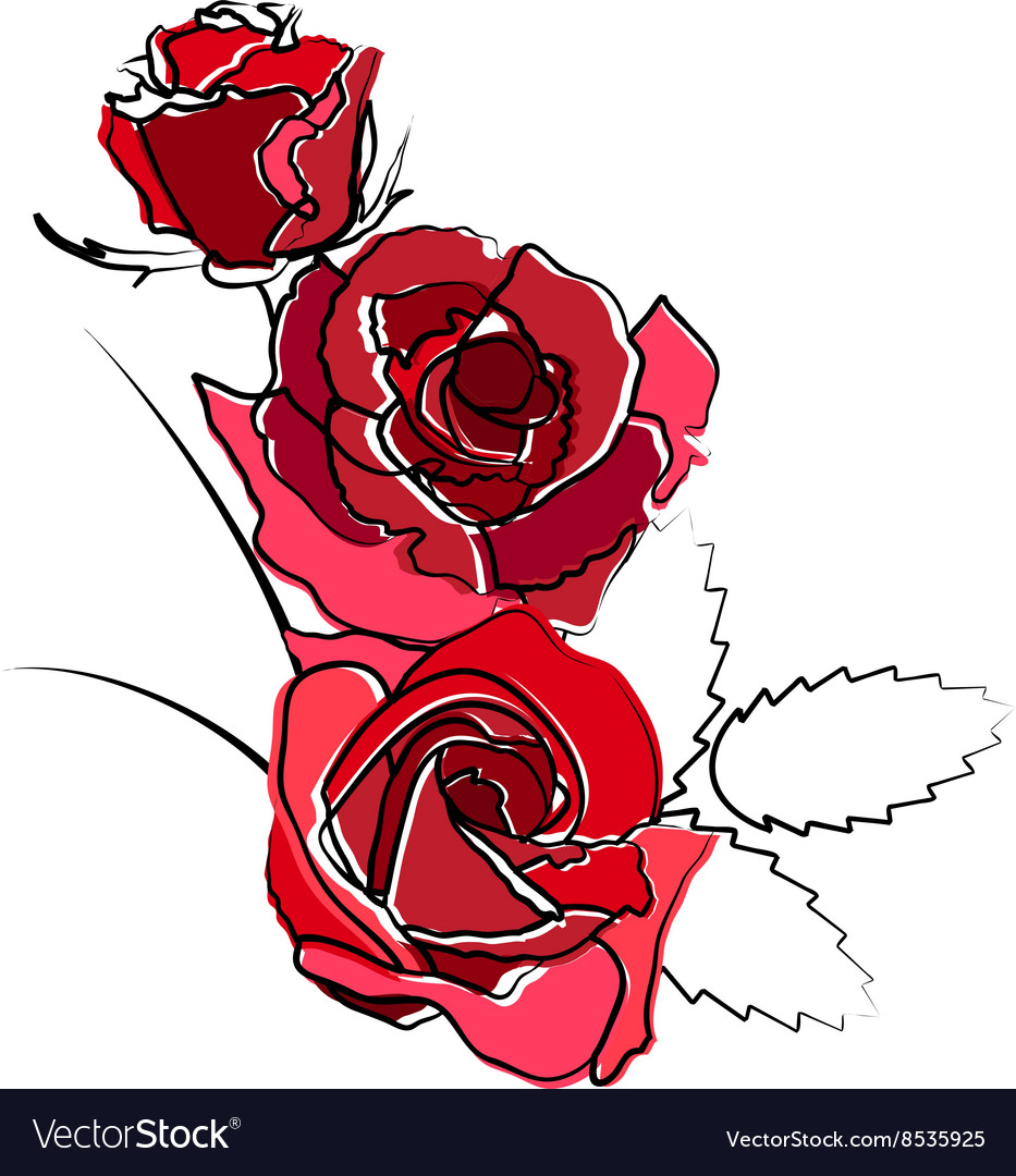 Stylized red roses isolated on white background