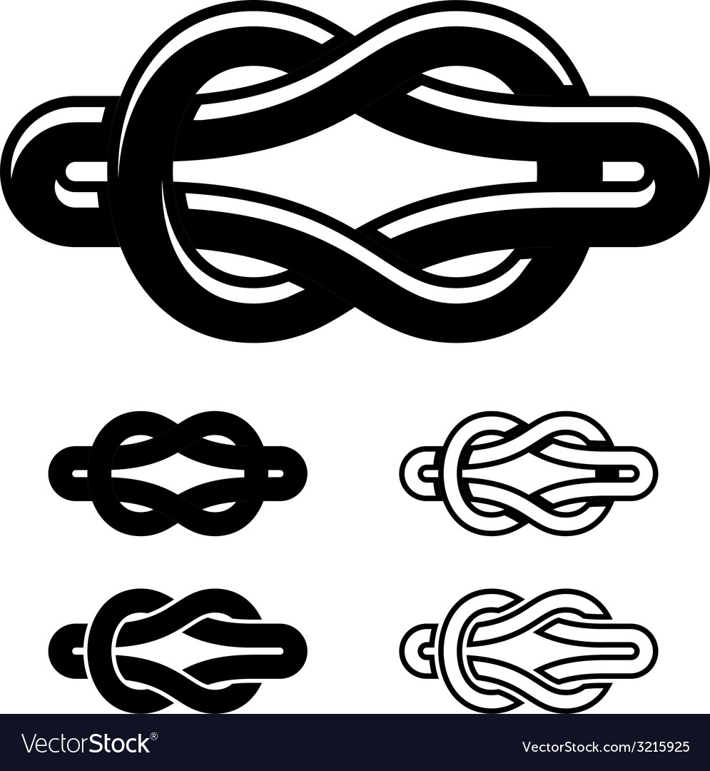 Unity Knot Black White Symbols Royalty Free Vector Image