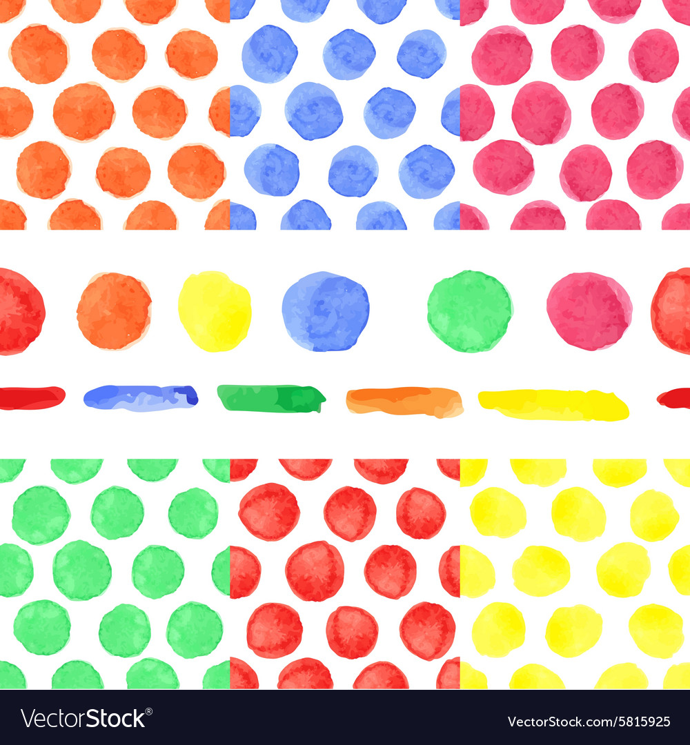 Watercolor colored polka dot seamless patternBaby