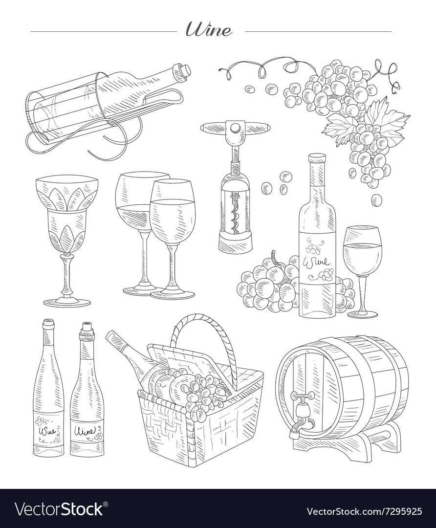 Wine and Accessories Hand drawn Set