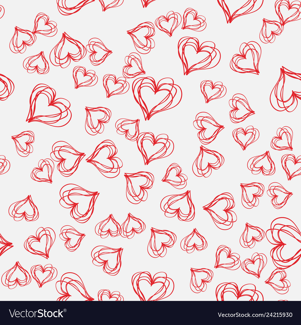 Abstract seamless pattern with hatched hearts on