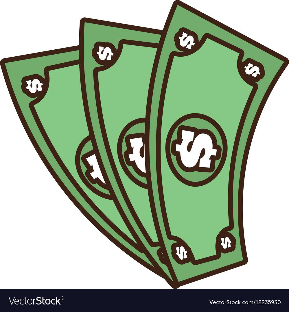 Cartoon money bills dollar cash