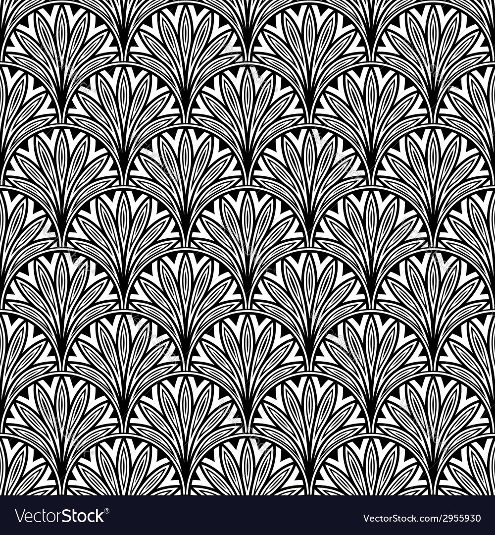Decorative floral seamless pattern with black