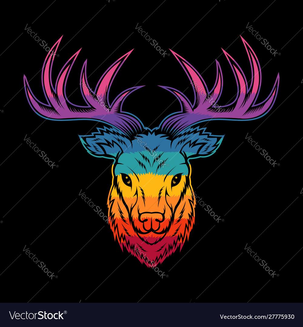 Deer head colorful