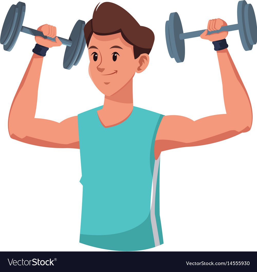 Fitness Man Weight Lifting Workout Royalty Free Vector Image