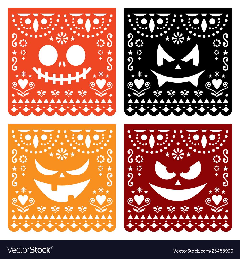 Halloween papel picado design with pumpkin faces