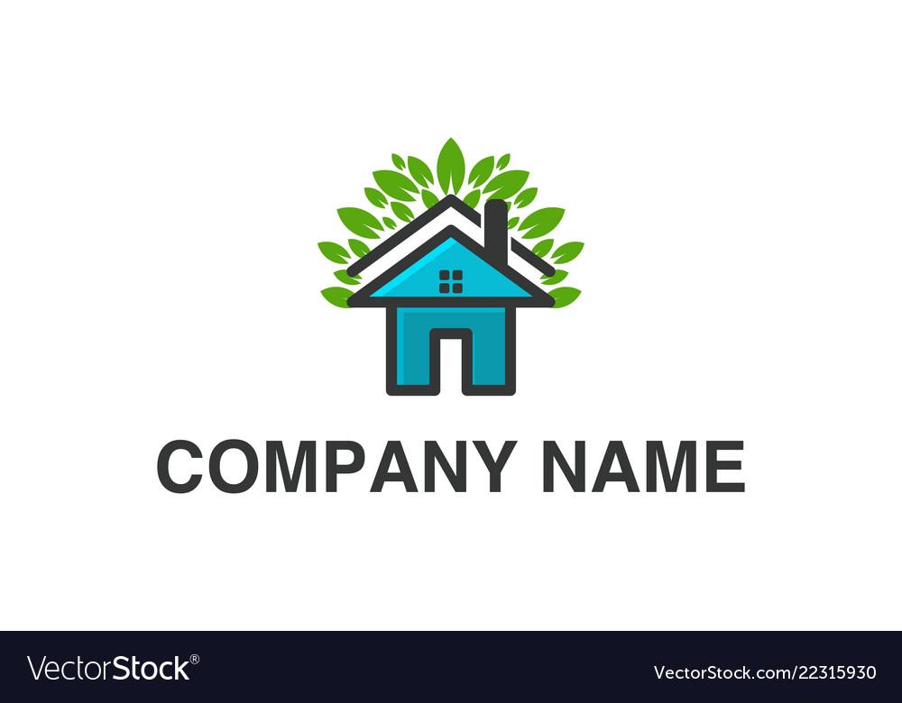 House home and leaf logo designs inspiration