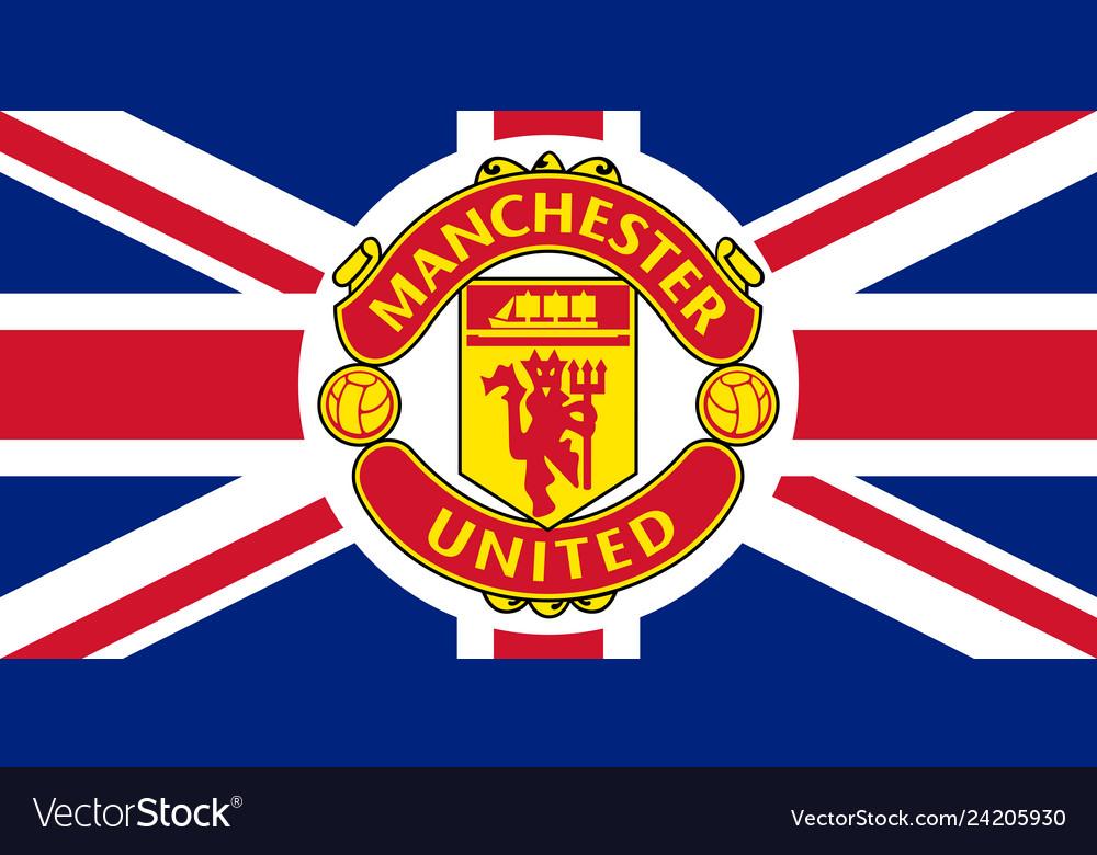 manchester united emblem on the union jack vector image vectorstock
