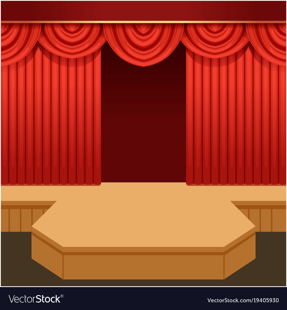 Open theater scene with red curtain and fashion