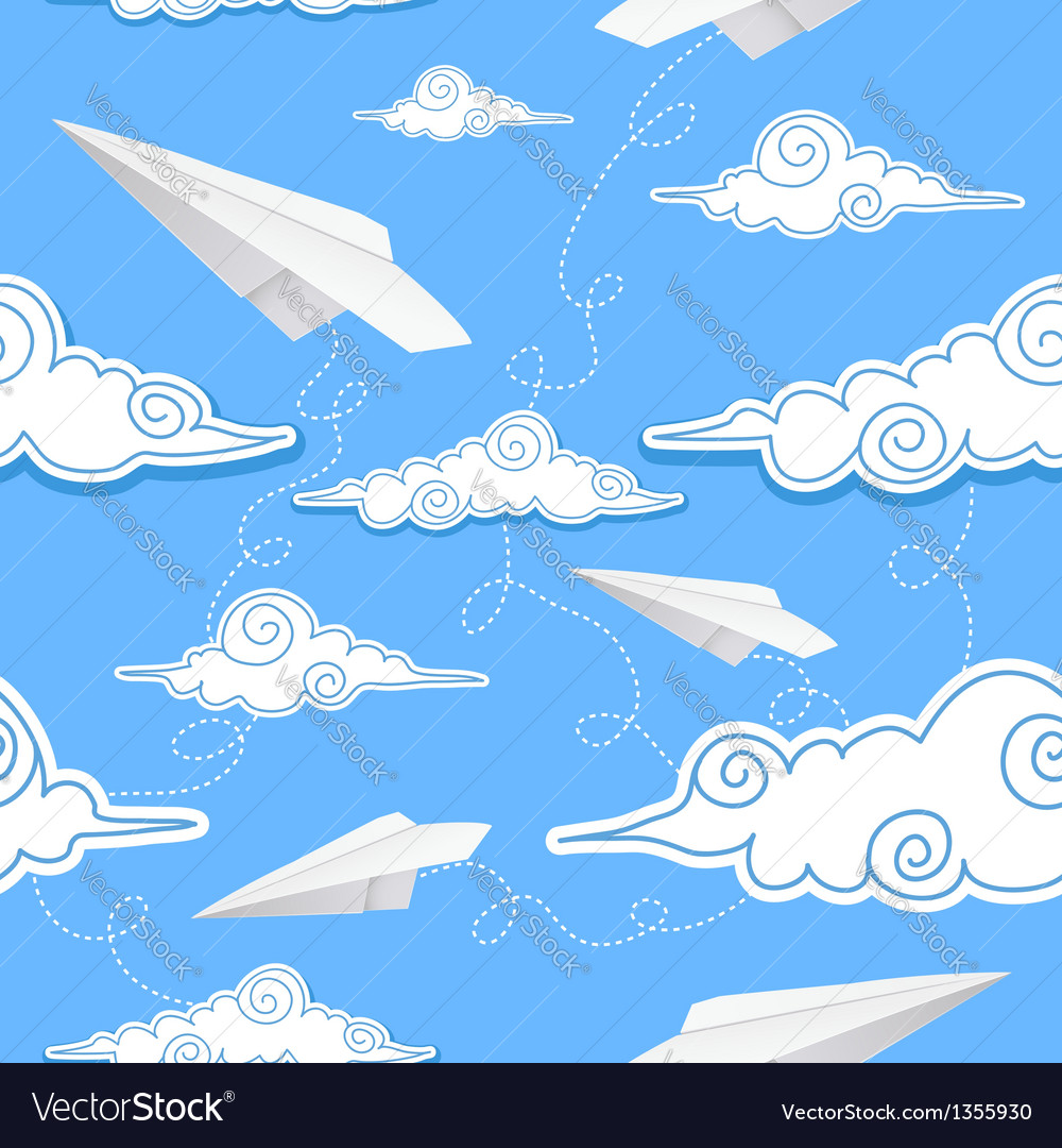 Seamless background with paper airplane and decora