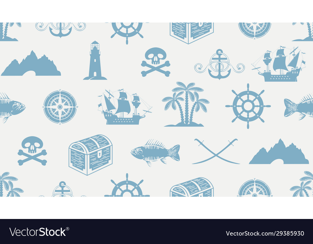 Seamless pattern on theme pirate and