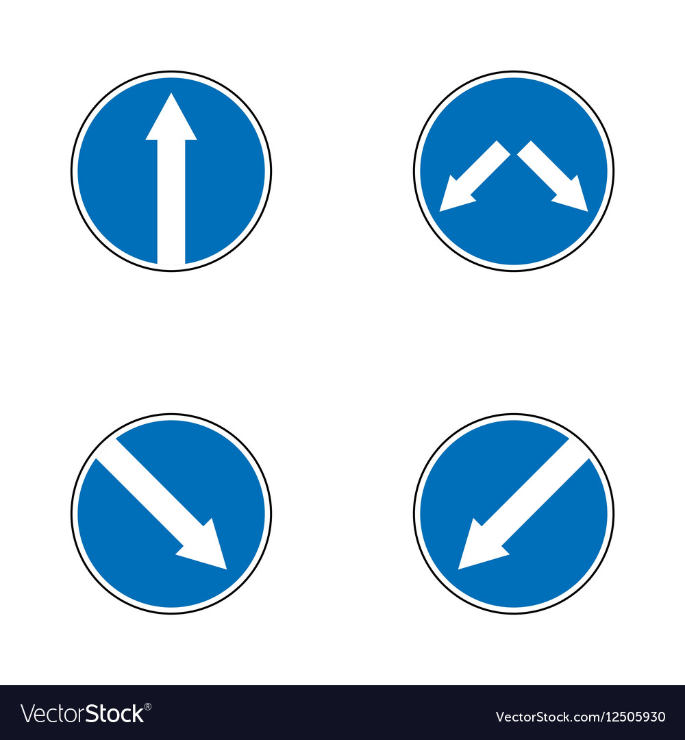 Set of variants arrow road sign isolated on white