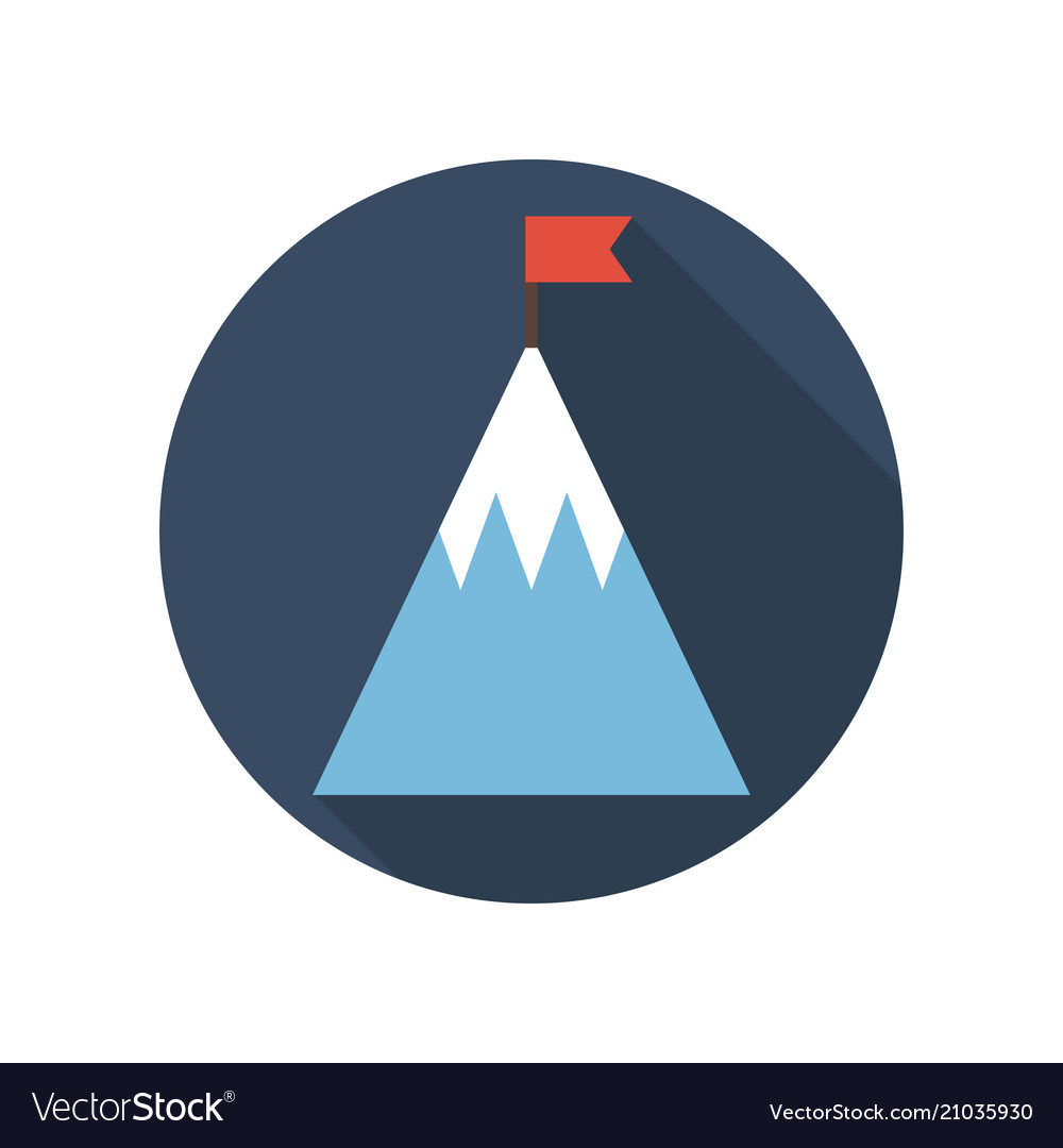 Top of mountain with flag flat icon goal business