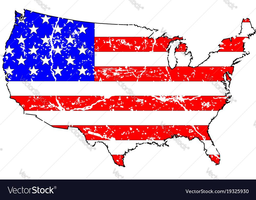 Usa Grunge Flag Map Royalty Free Vector Image Vectorstock