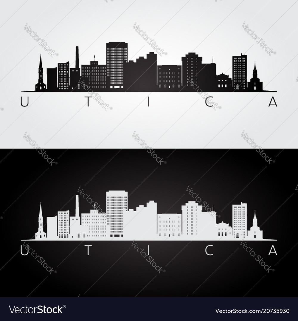 Utica usa skyline and landmarks silhouette vector image