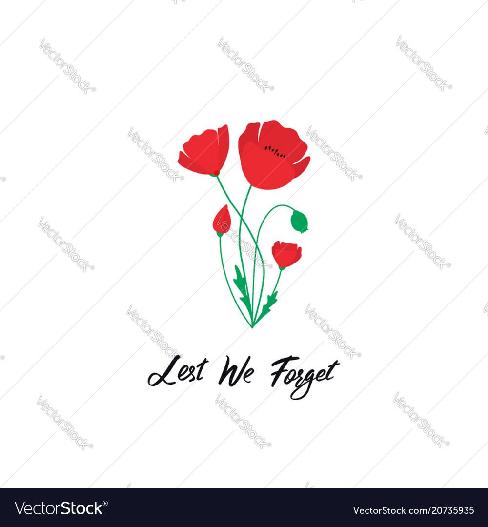 Anzac day banner red poppy flower