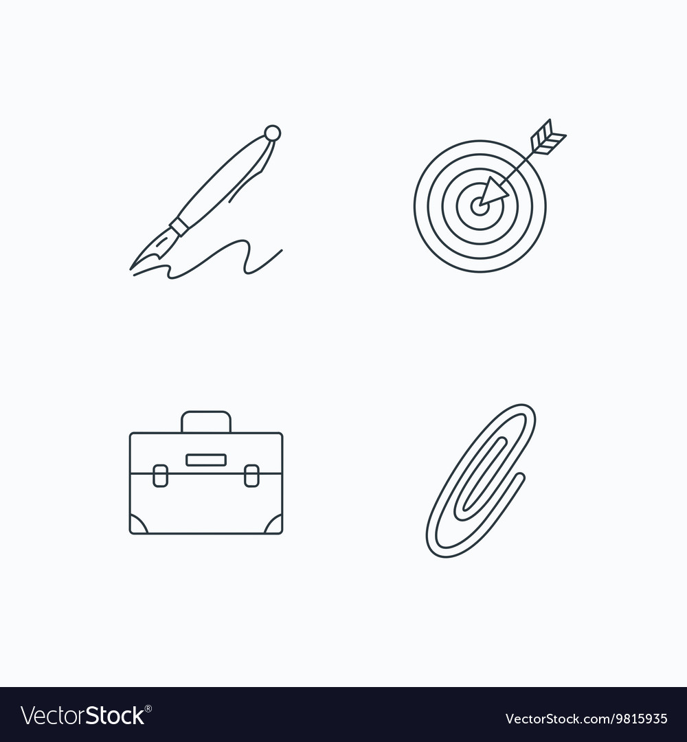 briefcase safety pin and target icons royalty free vector