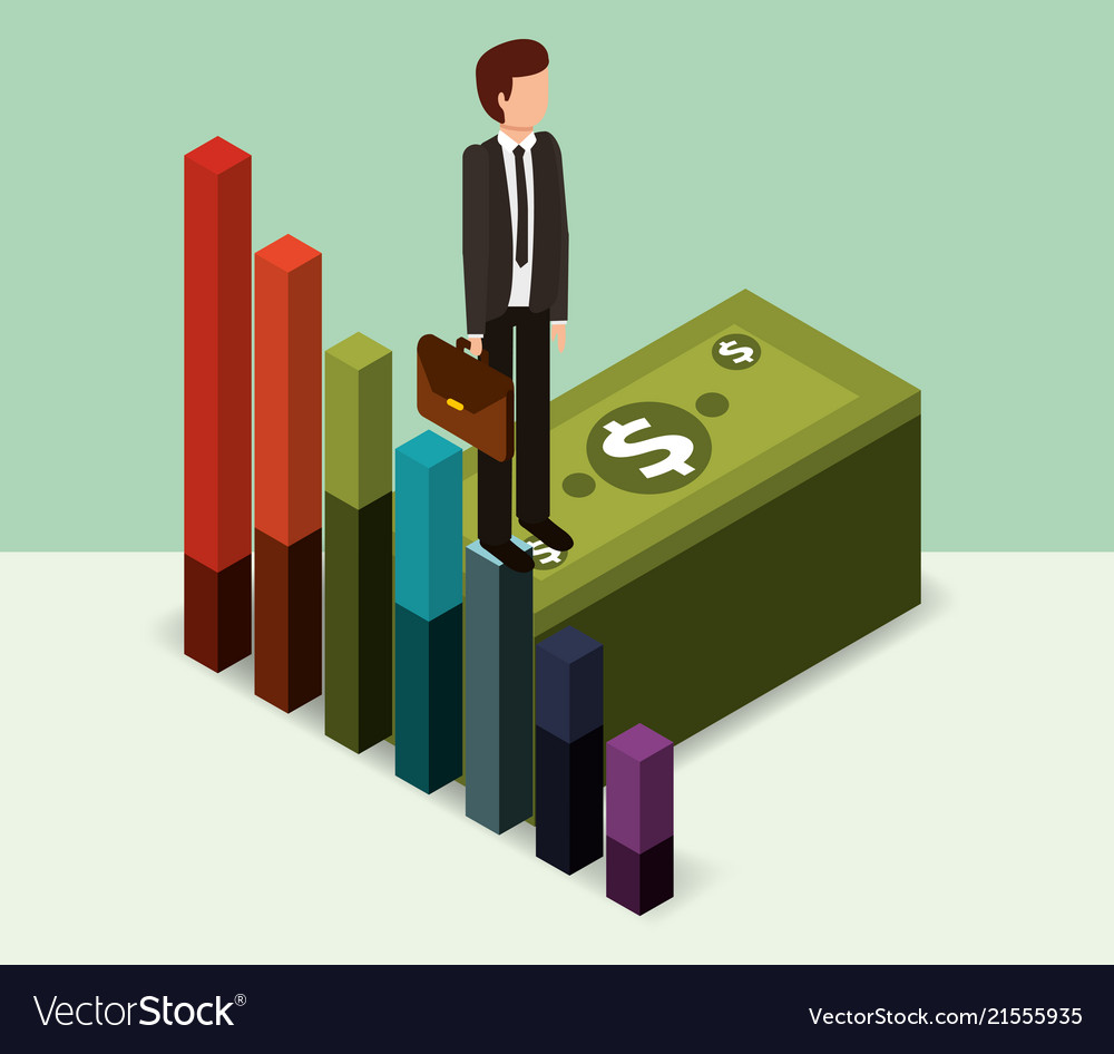 Businessman standing pile banknote money isometric