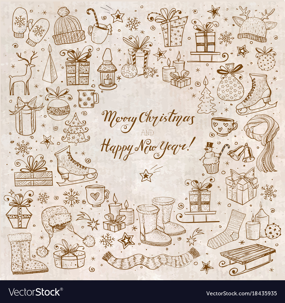Christmas card with hand-drawn snowflakes snowman vector image