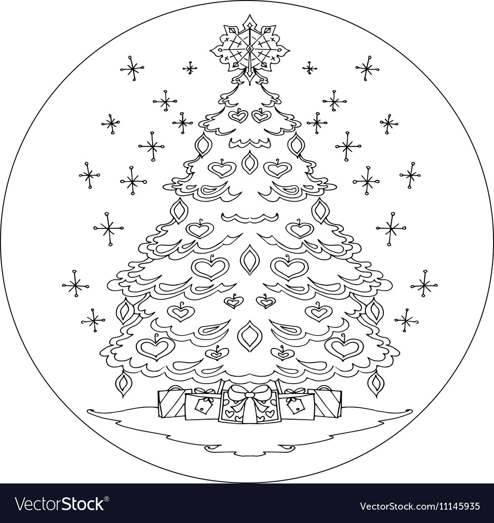 Christmas tree coloring mandala Royalty Free Vector Image