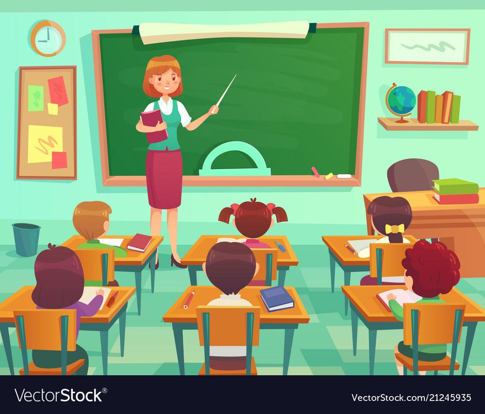 Classroom with kids teacher or professor teaches