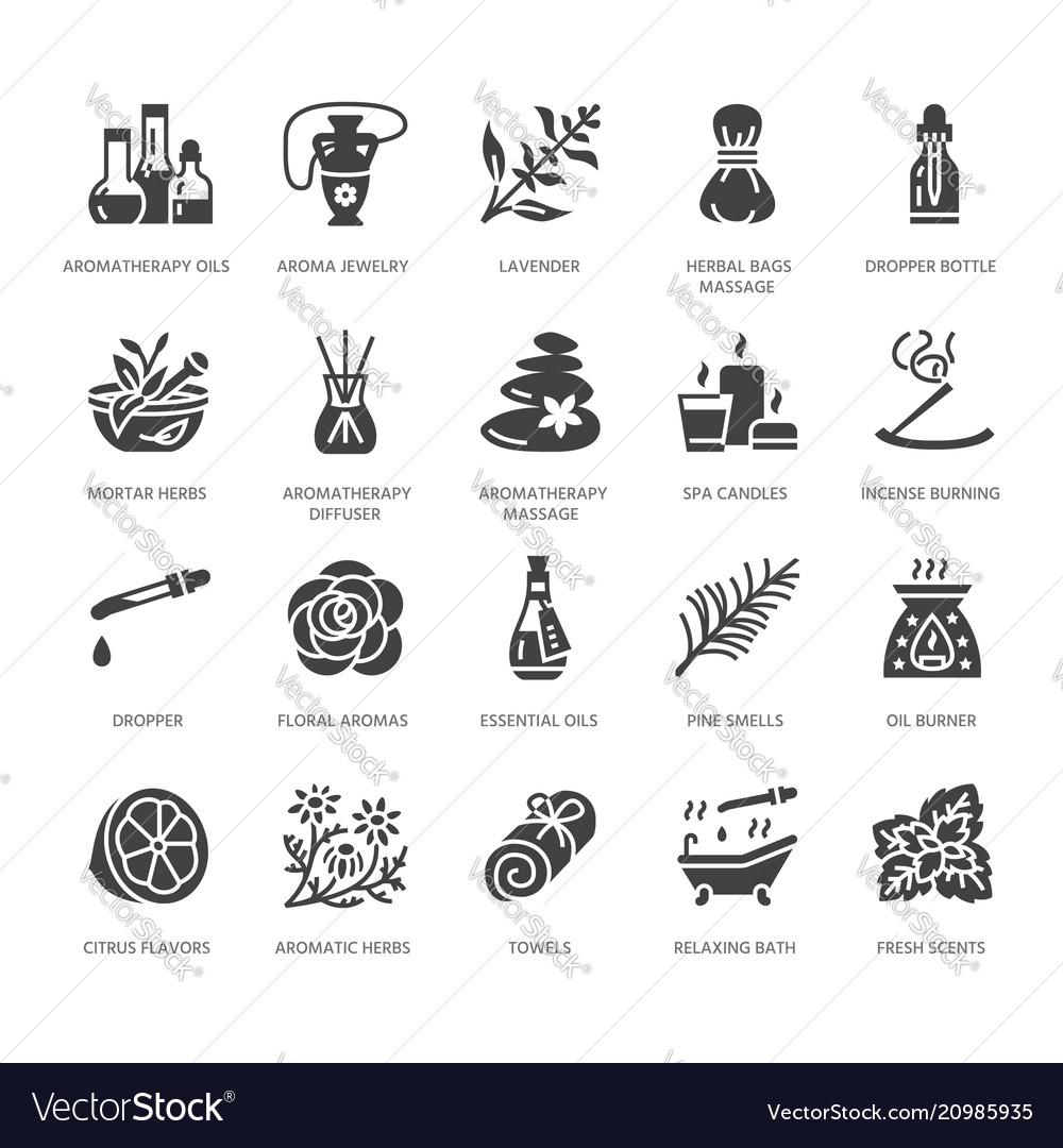 Essential oils aromatherapy flat glyph