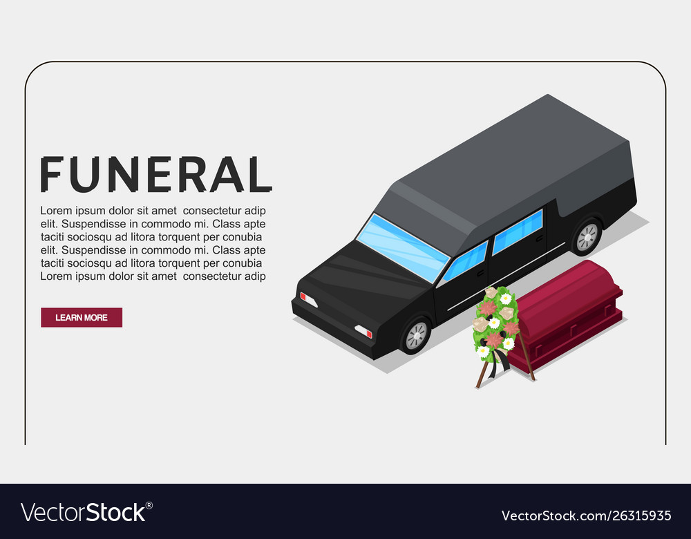 Funeral service isometric poster or web