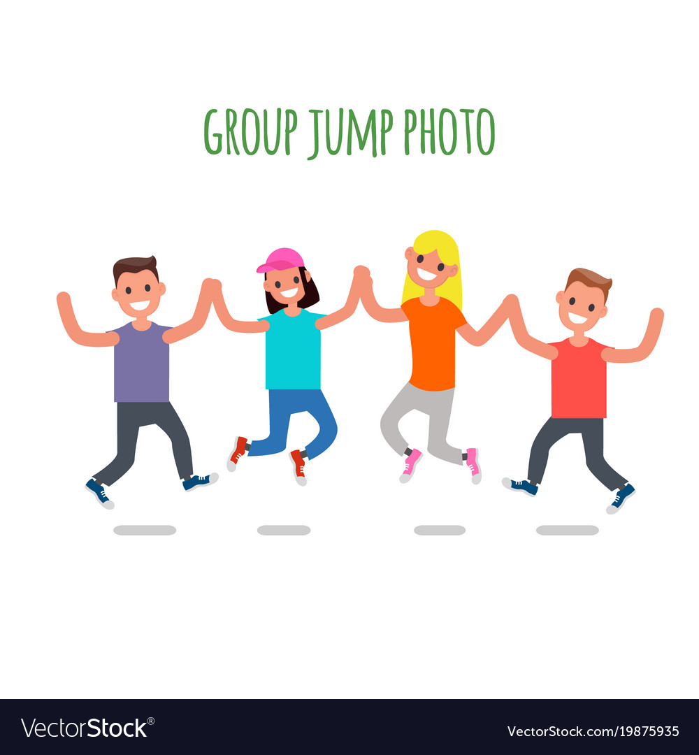 Group jump photo flat design characters