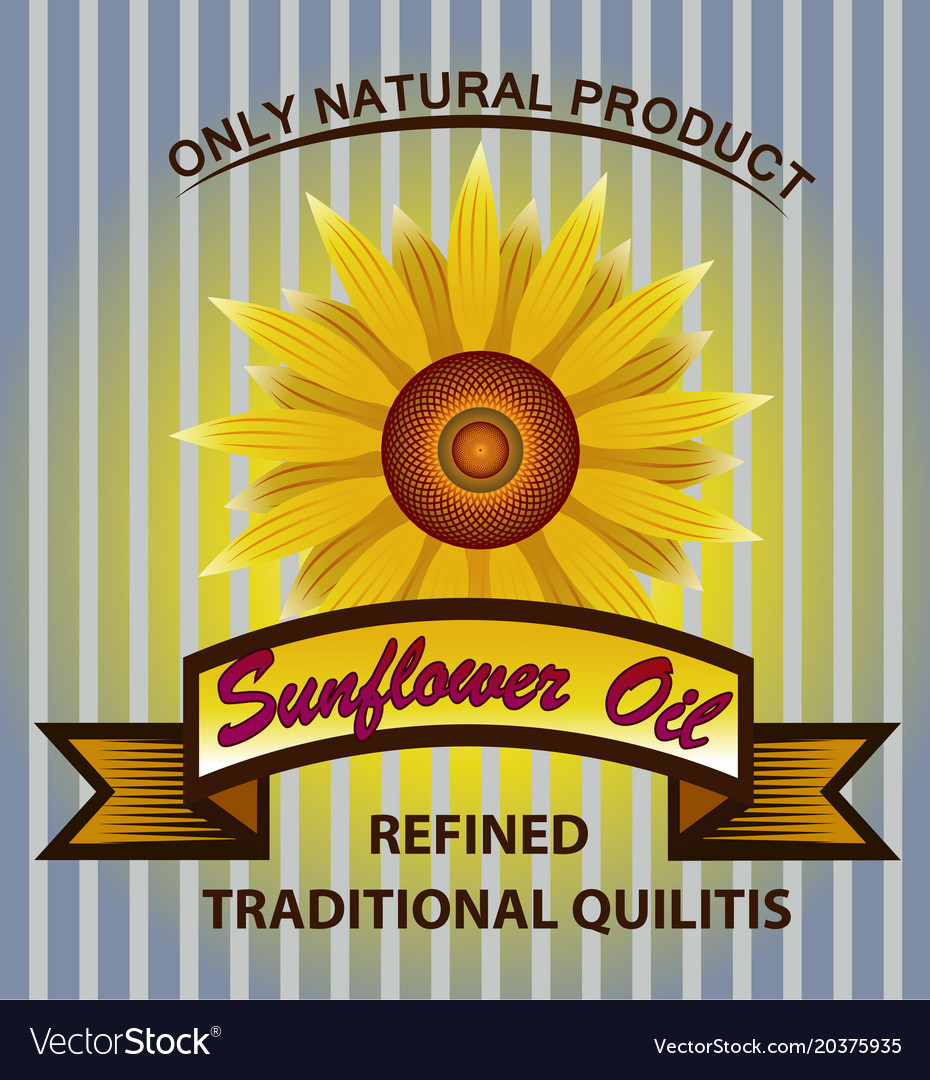 Label for refined sunflower oil with sunflo