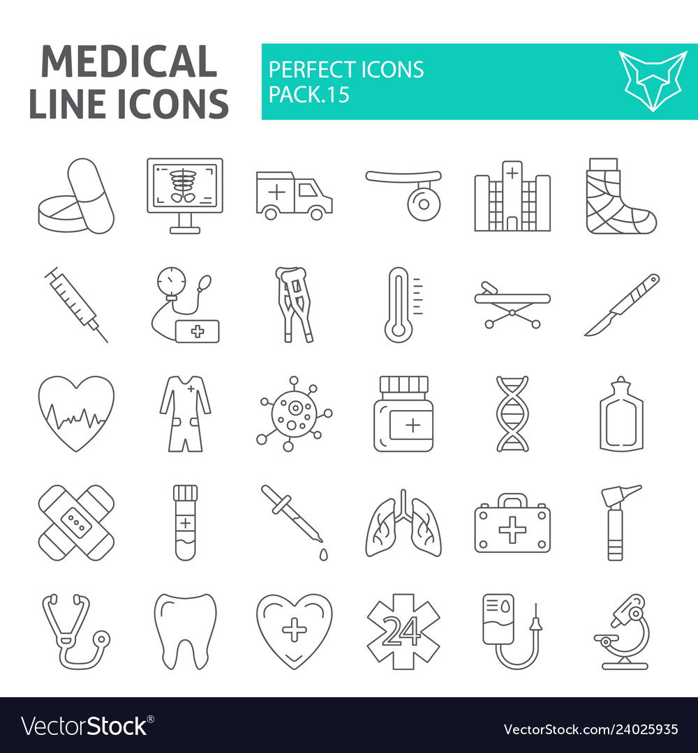 Medical thin line icon set hospital symbols