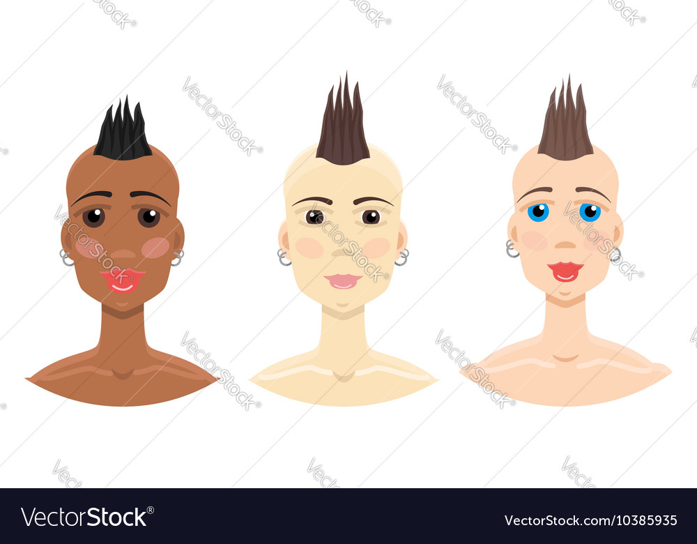 Mohawk Hairstyle Girl Set Royalty Free Vector Image
