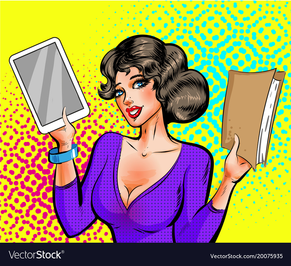 Pop art beautiful woman with book and e