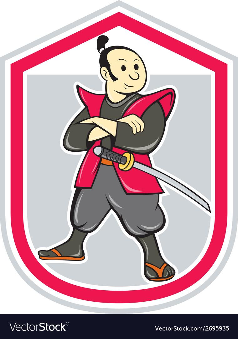 Samurai Warrior Arms Folded Shield Cartoon