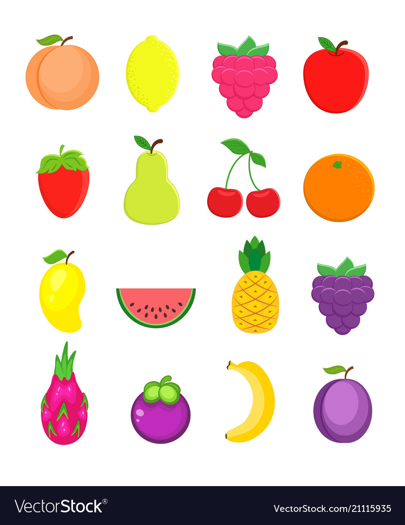 Set of different fruits in flat style peach