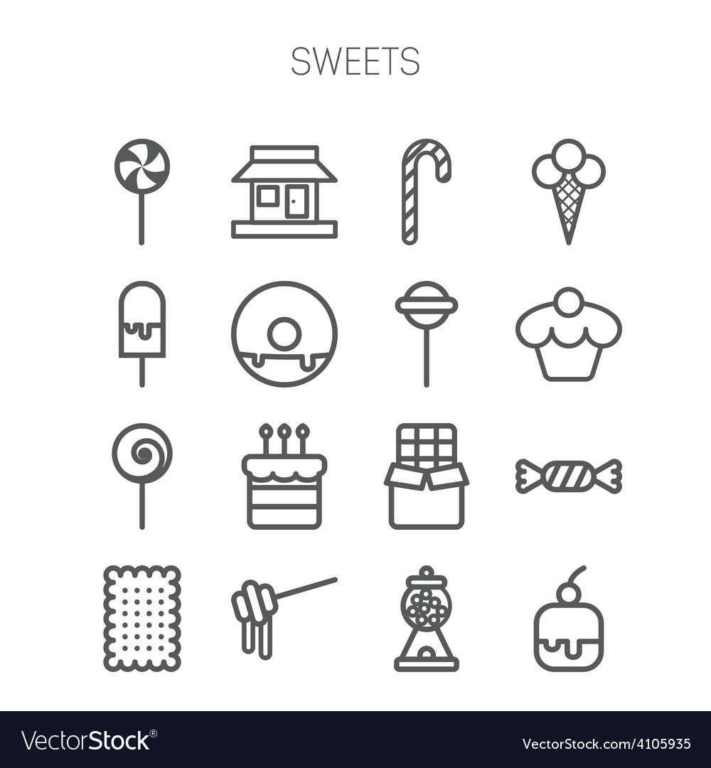Set of simple icons with sweets and candis