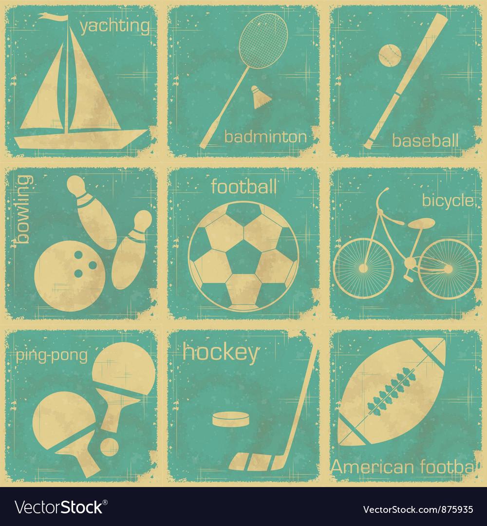 Set of Vintage Sport separate Labels vector image