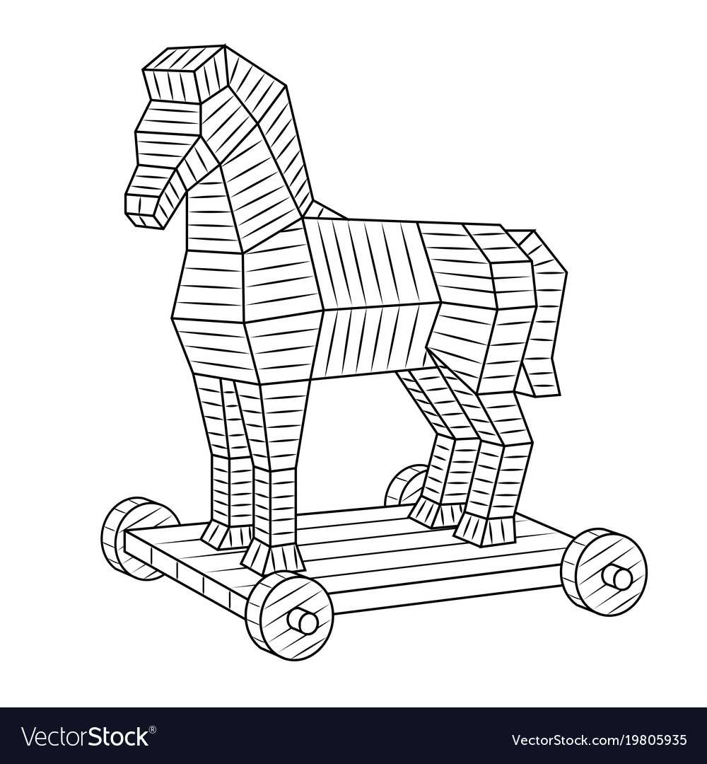 Trojan horse coloring book Royalty Free Vector Image