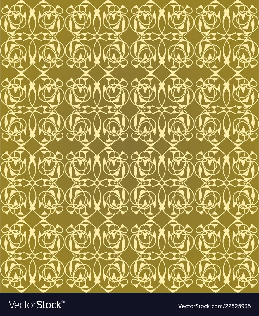 Vintage seamless patterns on golden background