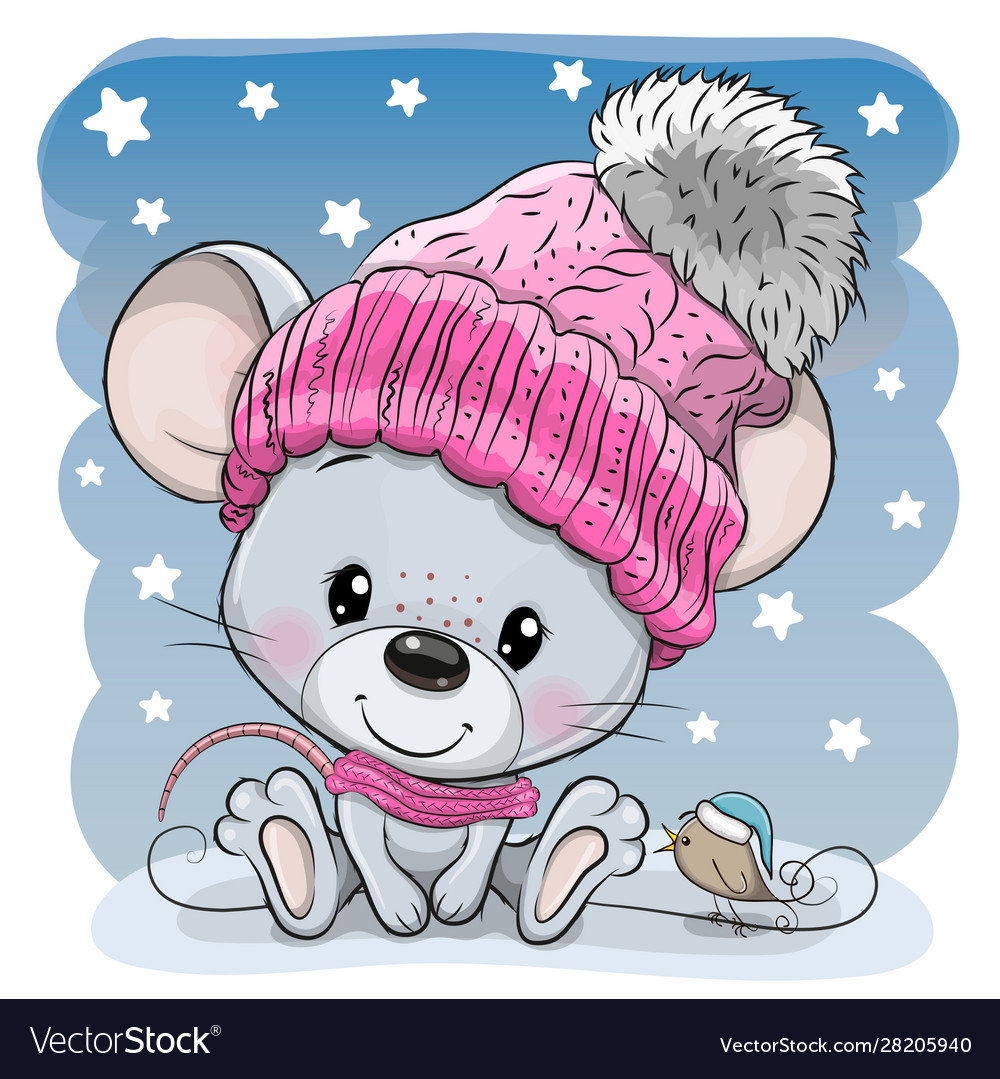 Cartoon mouse in a knit cap and a bird