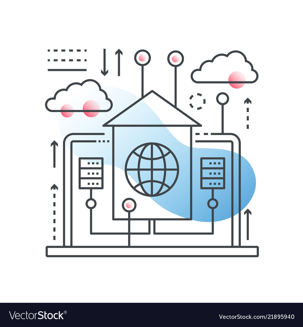 Cloud data technology hosting concept in