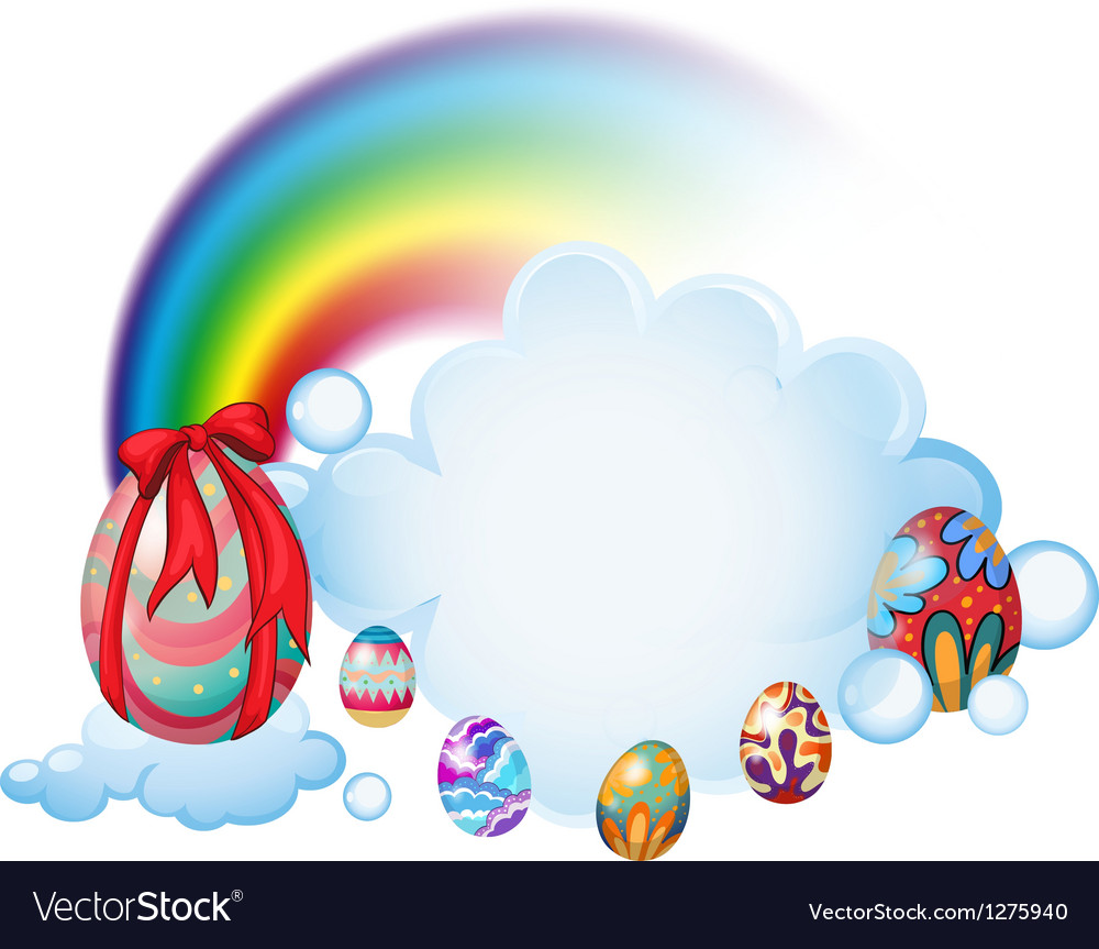 Easter eggs above the clouds vector image