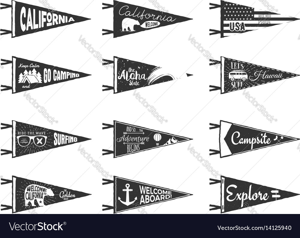 Hand drawn adventure pennants and flags set vector image
