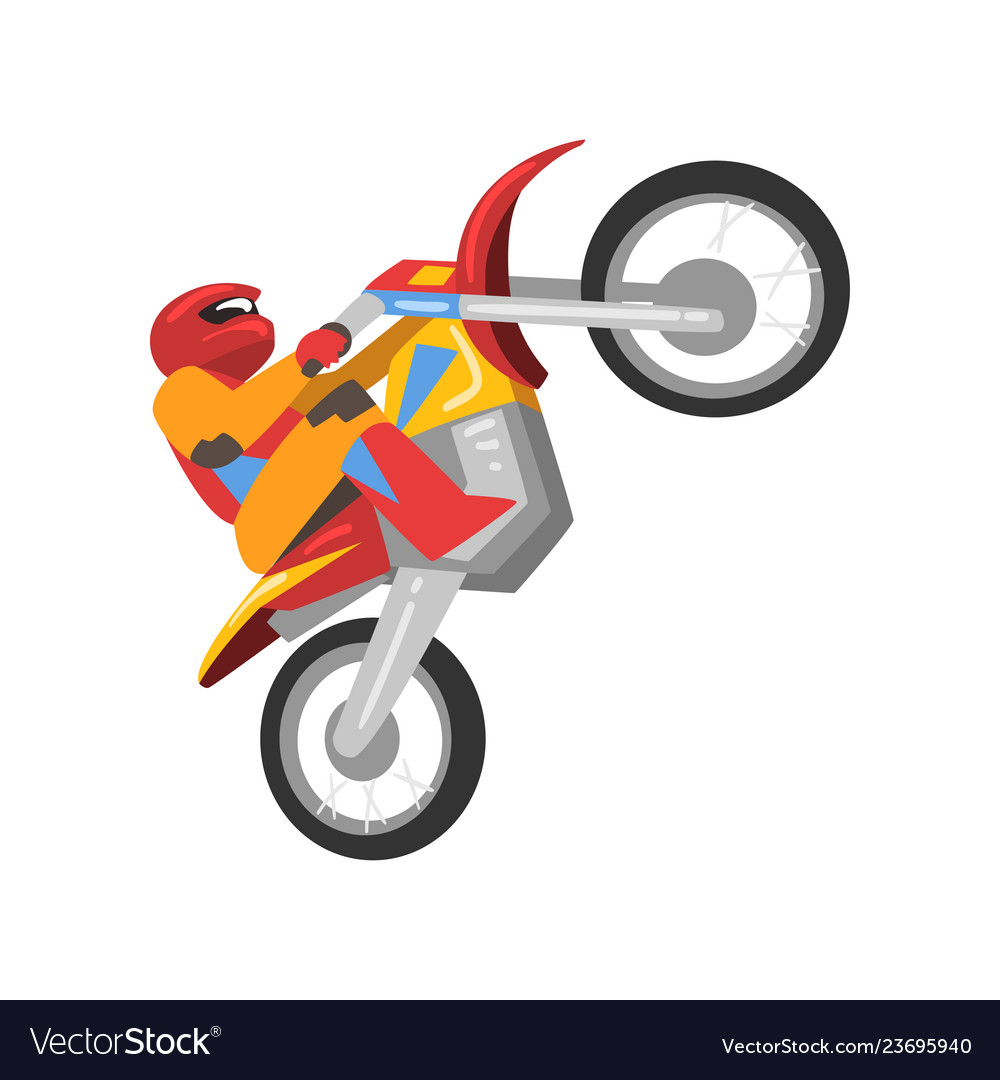 Motorcyclist riding motorcycle motocross racing