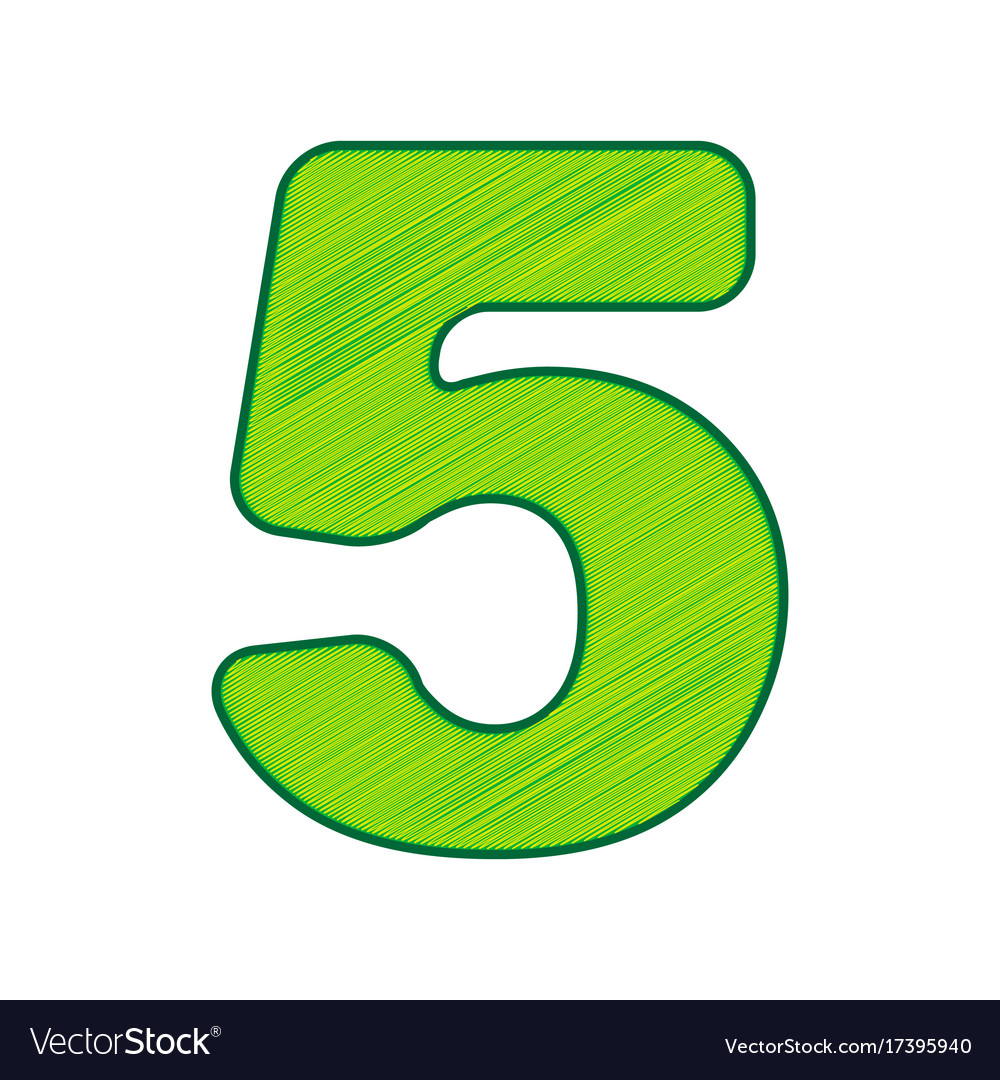 Number 5 sign design template element Royalty Free Vector