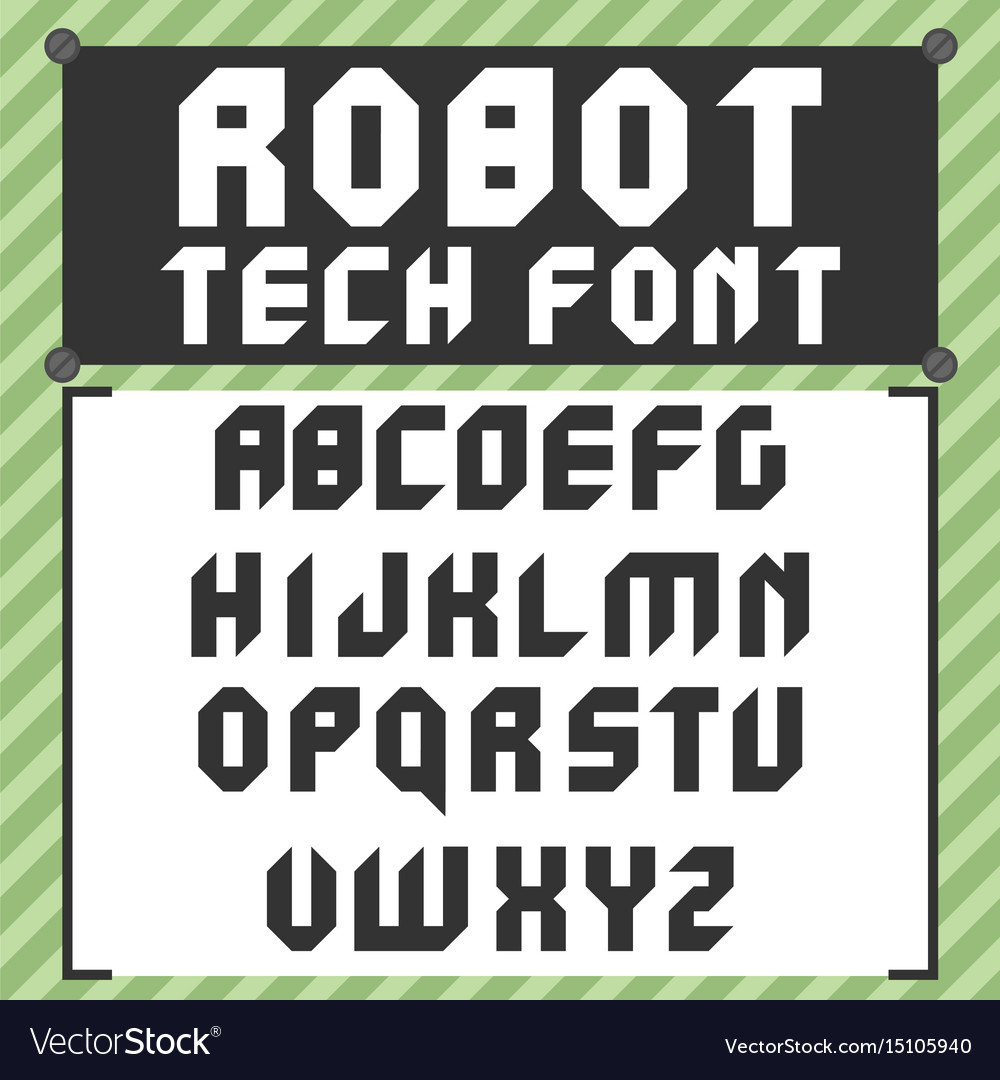 Robotic font in flat style